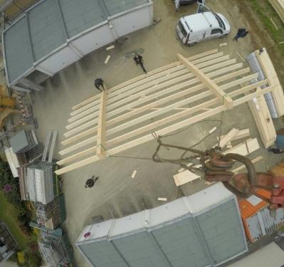 Bau eines Gebäudes aus Holz