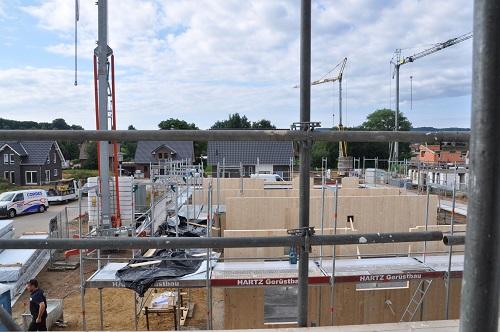 Baustellenfoto Holzbau Gebäude
