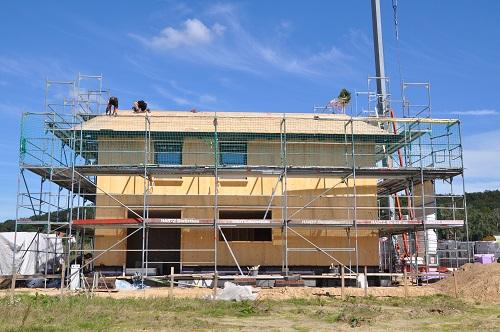 Baustellenfoto Wohnhaus Brettsperrholz