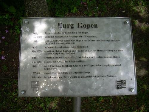 Schild Burg Hopen
